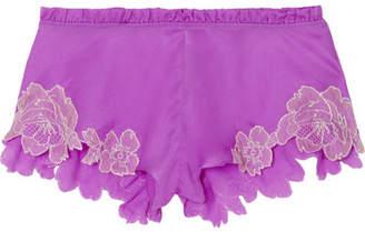 Carine Gilson Flottant Chantilly Lace-trimmed Silk-satin Shorts - Magenta