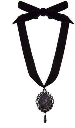 Miu Miu Cameo pendant velvet necklace