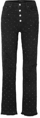 Amiri Crystal-embellished Distressed High-rise Straight-leg Jeans - Black