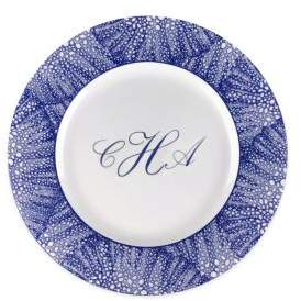 Caskata Personalized Sea Fan Blue Salad Plate
