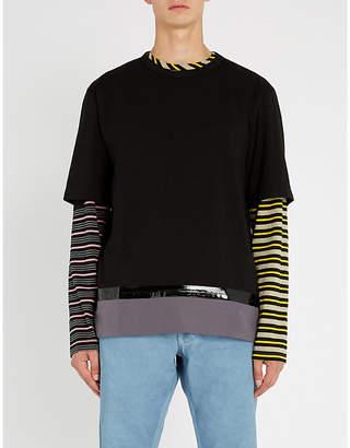 Marni Contrast-stripe cotton-jersey T-shirt