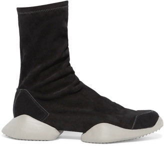 Rick Owens + adidas Originals suede ankle boots $1,110 thestylecure.com