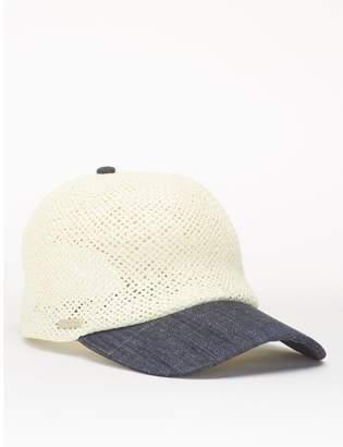 Calvin Klein straw chambray logo cap