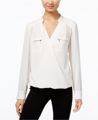 INC International Concepts Zip-Pocket Surplice Blouse, Only at Macy's $69.50 thestylecure.com