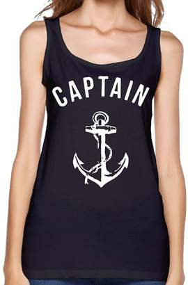 RHUET LNVDIR Captain White Anchor Fit Relaxed Tank Top Athletic Workout Women's Tank Tops Cotton