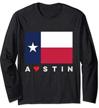 Austin Texas Love Flag Long Sleeve Shirt