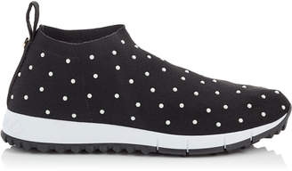 Jimmy Choo NORWAY Black Knit with White Scattered Pearls Sock-Like Trainers