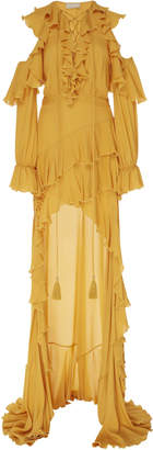 Elie Saab High-Low Chiffon Ruffle Dress