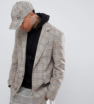 ADD oversized blazer in stone check