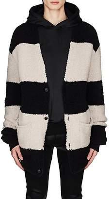 Amiri Men's Striped Wool-Blend Chenille Oversized Cardigan - Black