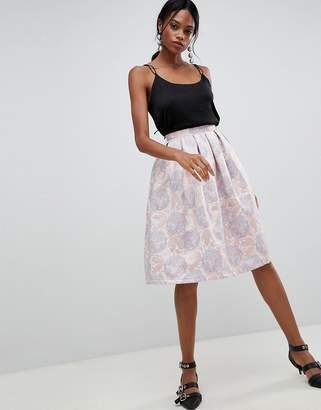 Liquorish Floral Jaquard Pleated Prom Skirt