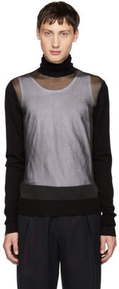 Neil Barrett Black Sheer Crewneck Sweater