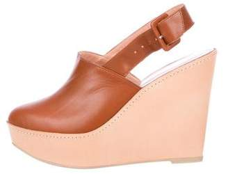 Robert Clergerie Leather Wedge Clogs