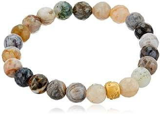 Satya Jewelry Agate Gold Plated Cherry Blossom Stretch Bracelet