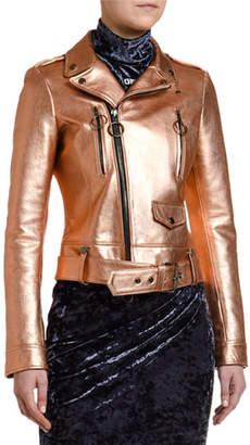Off-White Copper Leather Biker Jacket