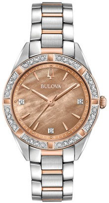 Bulova Women's Two-Tone 1/10 cttw Diamond Watch