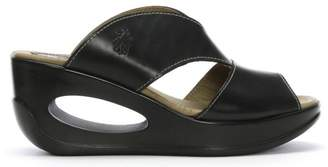 Fly London Hook Black Leather Cut Away Wedge Mules