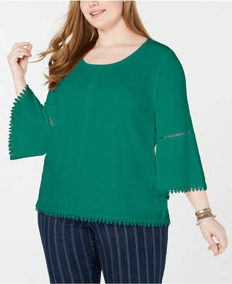 Style&Co. Style & Co Plus Size Crochet-Trim Bell-Sleeve Top