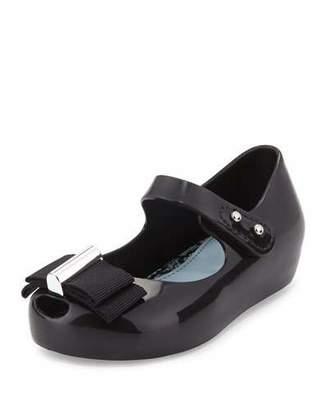Mini Melissa Ultragirl Grosgrain-Bow Mary Jane Jelly Flat, Black, Toddler $75 thestylecure.com