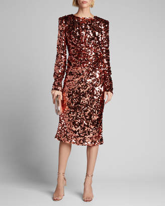 Dolce & Gabbana Ruched Long-Sleeve Sequin Dress