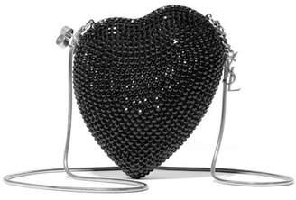 Saint Laurent Love Box Crystal-embellished Leather Shoulder Bag - Black