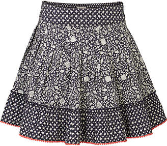Fat Face Girls' Ditsy Fish Tiered Skirt, Navy