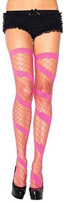 Leg Avenue Women's Swirl Diamond Net Thigh High Stockings