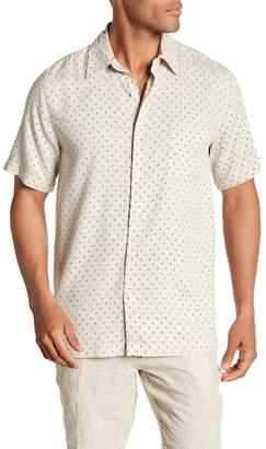 Toscano Short Sleeve Silk Micro Print Woven Shirt