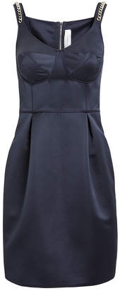 Victoria Beckham Victoria, Navy Tuck Mini Dress