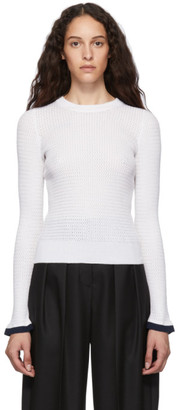See by Chloe White Open Knit Crewneck Sweater