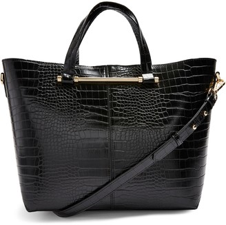 Topshop Taz Croc Embossed Faux Leather Tote