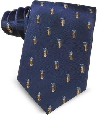 Marina D'Este Golf Bag Light Blue Woven Silk Men's Tie