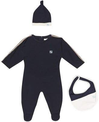 Fendi Stretch-cotton onesie, hat and bib set
