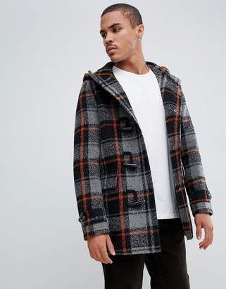 Asos DESIGN wool mix duffle coat with orange check in black