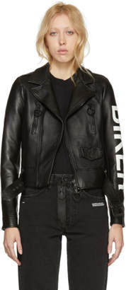 Off-White Black Leather Biker Jacket