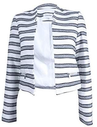 Calvin Klein Women's Petite Size Boucle Stripe Open Jacket