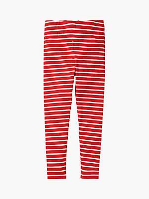 Boden Mini Girls' Striped Leggings, Red