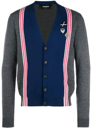 DSQUARED2 bicolour cardigan with stripe bands