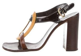 Miu Miu Patent Leather Wooden Sandals