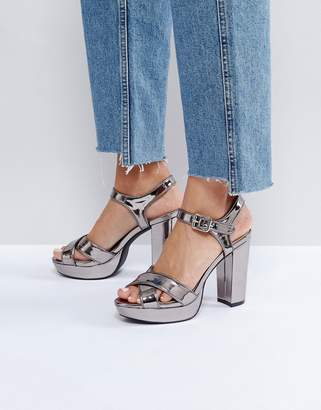 London Rebel Glitter Platform Sandal