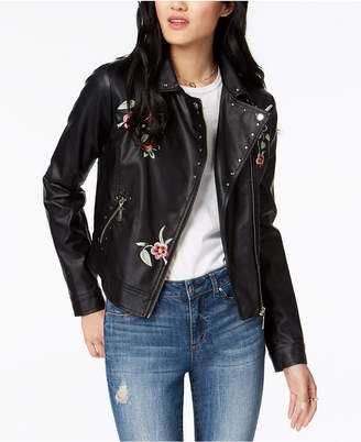 Joujou Jou Jou Juniors' Embroidered Faux-Leather Moto Jacket