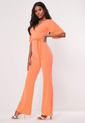 Missguided Neon Orange Kimono Sleeve Flare Leg Romper