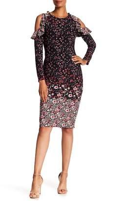 Maggy London Cold Shoulder Ruffle Printed Midi Dress