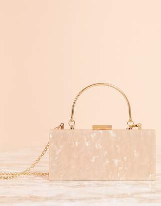 Asos Design DESIGN Luxe marble clutch bag with metal handle