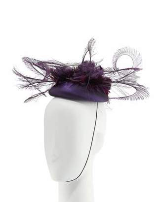 Rachel Trevor-morgan Rachel Trevor Morgan Silk Taffeta Feather Curl Pillbox Hat, Purple