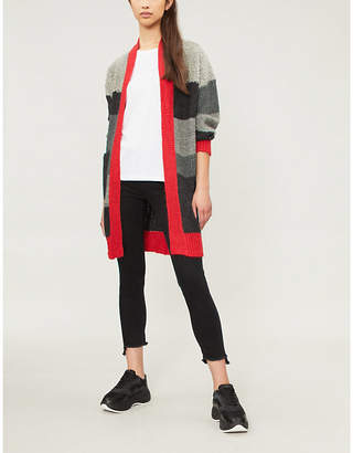Pinko Trainer striped mohair-blend cardigan