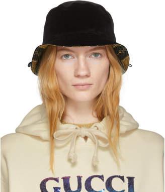 Gucci Reversible Black Velour Bucket Hat