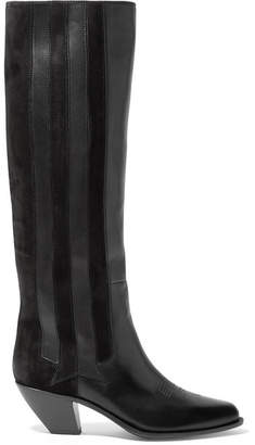 Golden Goose Nebbia Suede-paneled Embroidered Leather Knee Boots - Black