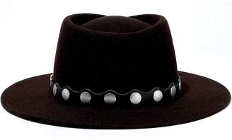 Rag & Bone Studded Leather-trimmed Wool-felt Fedora