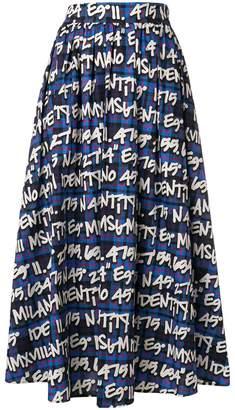 MSGM graffiti plaid A-line midi skirt